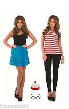 Adult Red and White Striped Top and Hat Wally Fancy Dress Costume Accessory Lot