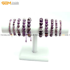 Natural Gemstone Dream Lace Amethyst  Quartz Beads Stretch Beaded Bracelet 7.5""