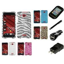 For HTC Droid DNA Diamond Diamante Bling Rhinestone Case Cover Charger Stylus
