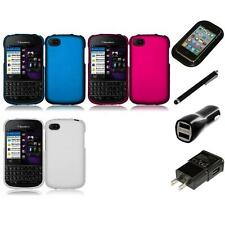For BlackBerry Q10 Rubberized Matte Snap-On Hard Case Phone Cover Charger Stylus
