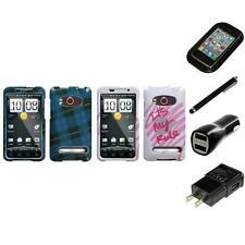 For HTC Evo 4G Design Snap-On Hard Case Phone Cover Charger Stylus