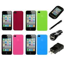 For Apple iPhone 4/4S Snap-On Rear Hard Back Cover Phone Case Charger Stylus