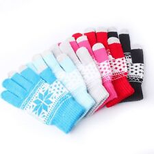 Gifts Soft Touch Screen Gloves Warm Winter  Men Women Knitted Snowflake