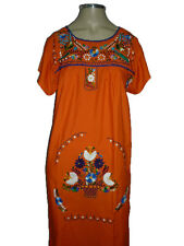 Orange Vintage Style Hand Embroidered Tunic Mexican Dress Hippie Puebla