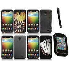 For LG Lucid 3 Snap-On Design Rubberized Hard Phone Case Cover Mount+Pen
