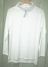 Suzannegrae White Roll Neck Tunic Top Size S 10 -12