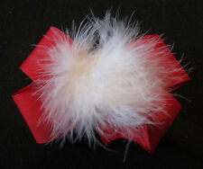 Girls Baby Boutique Hair Bow Marabou Puff Red White Feather Hairbow Christmas