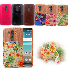 Pattern Card Slots Leather Hard PU Leather+PC Case Cover For LG G3 & G4 Protect