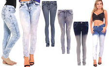 Womens Ladies Faded Washed Ripped Slim Fit Skinny Fit Denim Jeans Size UK 6-14