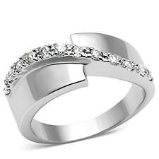 Rhodium Plated Brass Channel Set CZ Ring Band Size 5 6 7 8