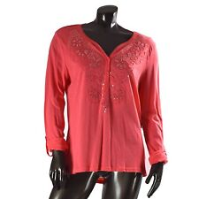 Canyon River Blues Womens Peach Sequin Top Shirt Blouse Long Sleeves Size XL