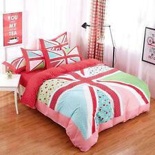Multi - Coloured Union Jack Symbol With Polka Dots And Floral Pattern Bed Set
