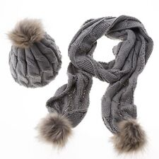 hat & scarf set women winter warm thicken knitted faux fur wool hat scarf 5color