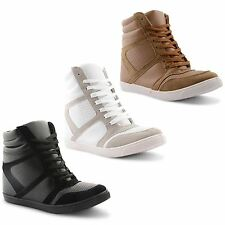 Womens Ladies Dolcis Wedge Lace Up Trainers High Hi Top Ankle Boots Shoes UK 3-8