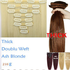 Natural Real THICK 210g++ Double Weft Clip In Hair Extensions Full Head 8 Pcs