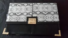 BNWT RIVER ISLAND BLACK TEXTURED OR SNAKE SKIN FOLD OVER CLUTCH BAG