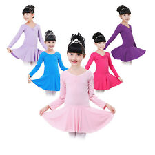 Girls Gymnastics Leotard Dress Kids Ballet Tutu Skirt Dancewear Costume 3-14Y