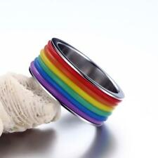9mm Rainbow Lesbian Gay Pride Ring Stainless Steel Women Men Jewelry US 6-13