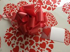 Valentines Cellophane gift wrap 80cm x 5m Red Love Hearts 3xFREE PULL BOW & CARD