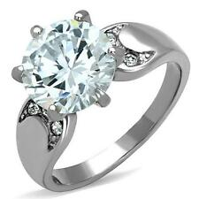 Stainless Steel Accented 5.69ct Round-Cut CZ  Engagement Ring Size 5 6 7 8 9 10