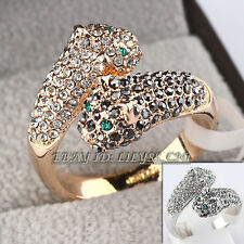 Fashion CZ Leopard Wrap Ring 18KGP Rhinestone Crystal Size 5.5-9