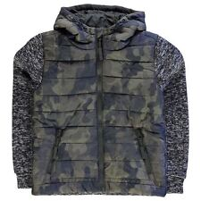 Lee Cooper Childrens Padded Knit Camo Jacket Boys Hooded Overcoat Clothing