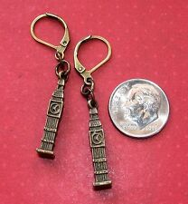 BIG BEN Bronze Tone or Silver Plated LEVER BACK earrings OPTIONS: short or long
