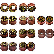 KIT 4PCS Organic Wood Ear Gauges Solid Ear Plugs Double Flared Flesh Tunnels