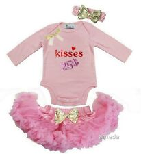 Baby Light Pink Pettiskirt & Valentine's Day Kisses 25 Cents Pink Bodysuit Outfi