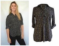 Cream Black Spot Silky Blouse ex Dorothy Perkins