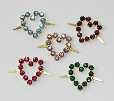 VINTAGE RHINESTONE HEART HEARTS FABRIC EMBELLISHMENTS • 2 PRONG • ASSORTED COLOR