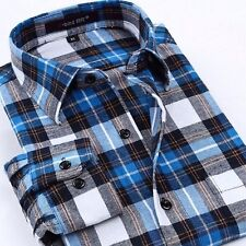 Handsome Mens New Long sleeve Plaid Non-iron Slim Casual Dress shirt S to 4XL