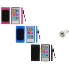 Color TPU Rubber Case Cover Belt Clip+Dual Charger for iPod Nano 7th Gen 7 7G