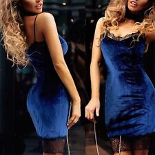 Sexy Women Velvet Bandage Bodycon Slim Evening Party Cocktail Lace Mini Dress UK