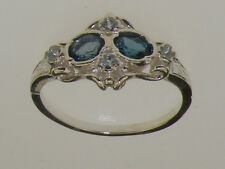 925 Sterling Silver Natural London Blue Topaz & Aquamarine Womens Cluster Ring
