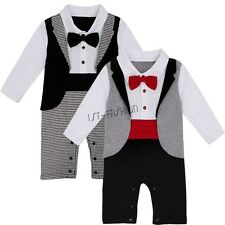 Baby Boys Tuxedo Gentleman Suit Bow Tie Romper Jumpsuit Formal Outfit SZ 6-2T