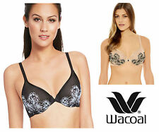 Wacoal Fragile Drama Underwired Sheer Mesh Bra 855250 Black Raindrop or Sand
