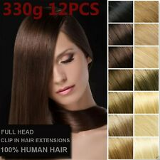 12PCS 330g Deluxe Thick Virgin Remy Clip In Real Human Hair Extensions Full Head