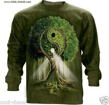 Tree of Life Yin Yang Nature Tie Dye Long Sleeve T-Shirt-Psychedelic Art Tee