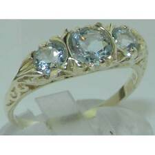 VINTAGE style Solid 10ct White Gold Natural Aquamarine Trilogy Ring