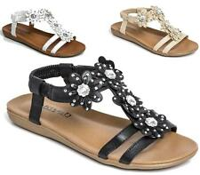 New Ladies Sandals Low Wedge Diamante Comfort Walking Summer Beach Shoes Size