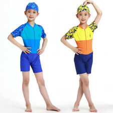 Y0327 one piece Beach swimsuit for boys and girls-1 piece Rash guard with cap