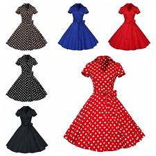Women Retro Polka Dots Party Cocktail Pinup Rockabilly Swing Dress Sundress Hot