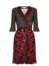 new Diane von Furstenberg NIEVES Silk Chiffon Wrap Dress in PIROUETTE DOT NAVY