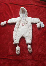 Girls Mamas&Papas Water Proof Quilted Hooded Nude Pram/Snowsuit NewBorn -3 Mths