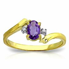 14k Solid Gold Ring with Natural Diamonds and Oval-shaped Amethyst
