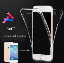 Protective Cover Rubber Front Back 360° TPU Silicone Transparent Case for iPhone