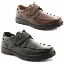New Mens Wide Fitting Leather Lined Strap Casual Work Shoes Gents Boys UK 7-12