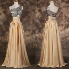 One shoulder Wedding Sequins Long Prom Ball Gown Party Evening Bridesmaids Dress