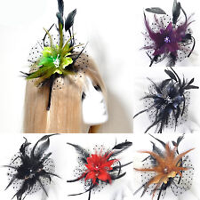hot women wedding fascinator feather crystal flower lace headband hair accessory